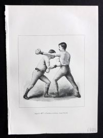 Badminton Library 1893 Antique Boxing Print. Cross Counter Body Blow
